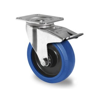 swivel castor with total brake, CASCOO Premium, Ø 80 mm, Elastic