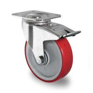 swivel castor with total brake, CASCOO Premium, Ø 100 mm, PU