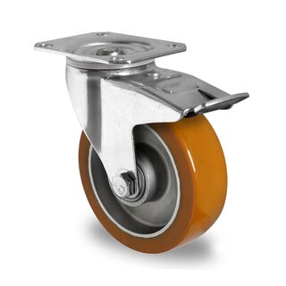 swivel castor with total brake, CASCOO Premium, Ø 125 mm, PU