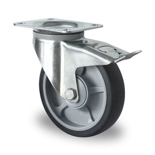 swivel castor with total brake, CASCOO Premium, Ø 160 mm, TPR