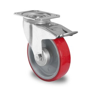 swivel castor with total brake, CASCOO Premium, Ø 200 mm, PU