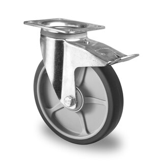 swivel castor with total brake, CASCOO Premium, Ø 200 mm, TPR