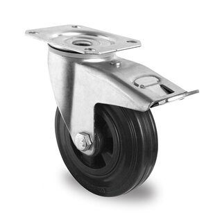 swivel castor with total brake, CASCOO Basics, Ø 125 mm, solid rubber