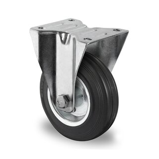 fixed castor, CASCOO Premium, Ø 200 mm, solid rubber