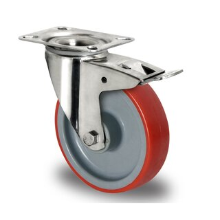 swivel castor with total brake, CASCOO Innovation, Ø 125 mm, PU
