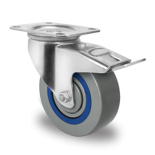 swivel castor with total brake, CASCOO Premium, Ø 125 mm, PA
